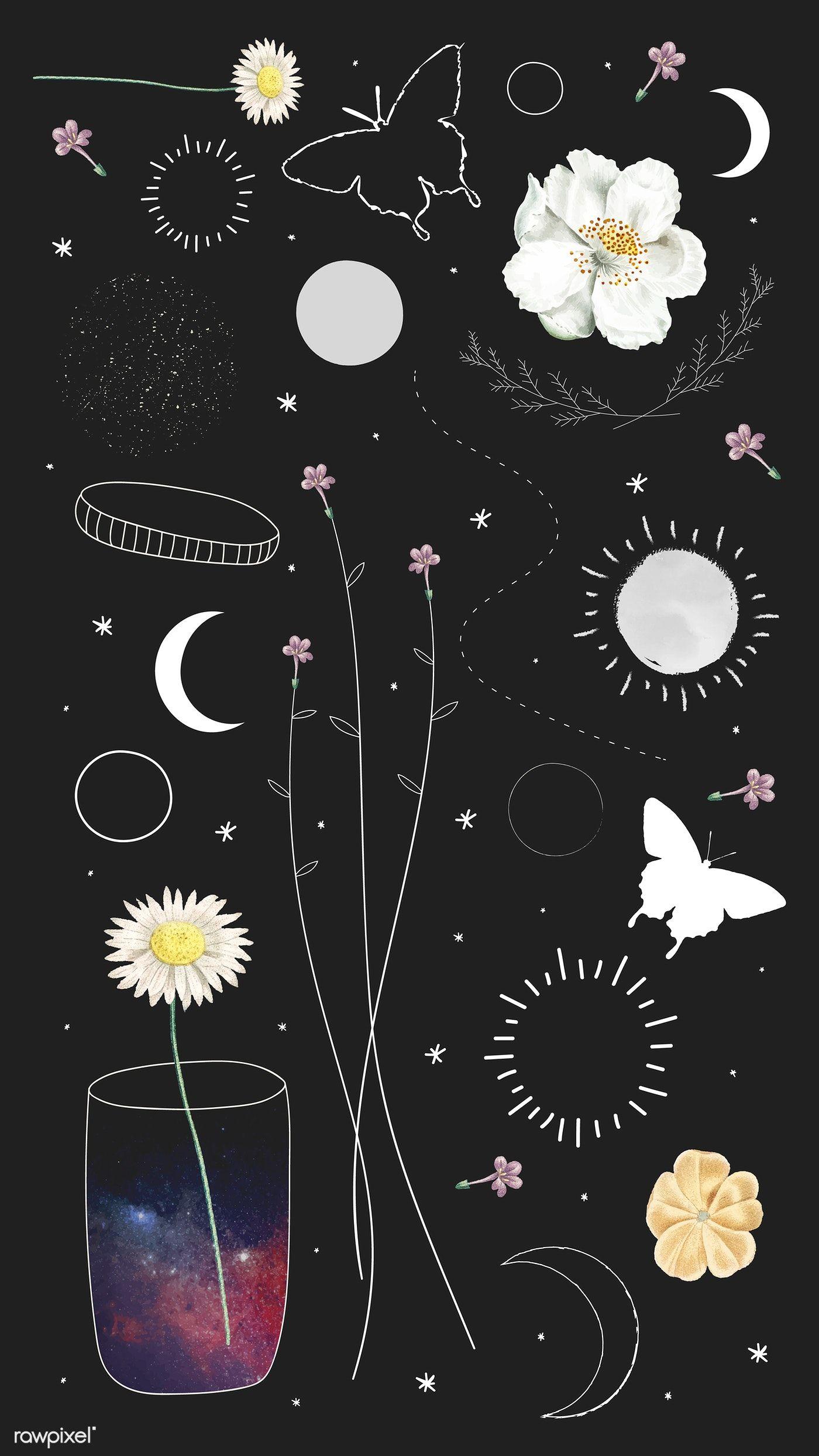 download premium vector of minimal floral galaxy design