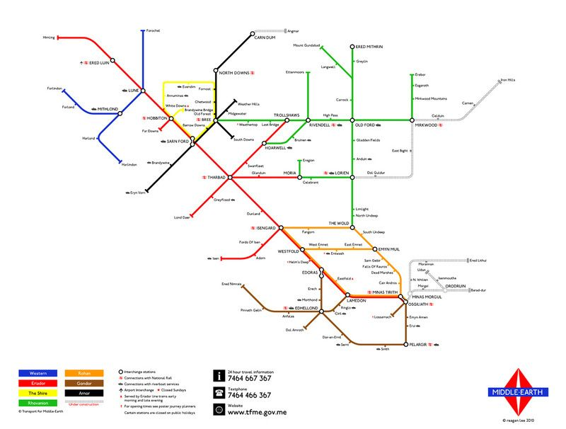Rings Subway Map.There And Back Again Middle Earth Subway Map By Reagan Lee Maps