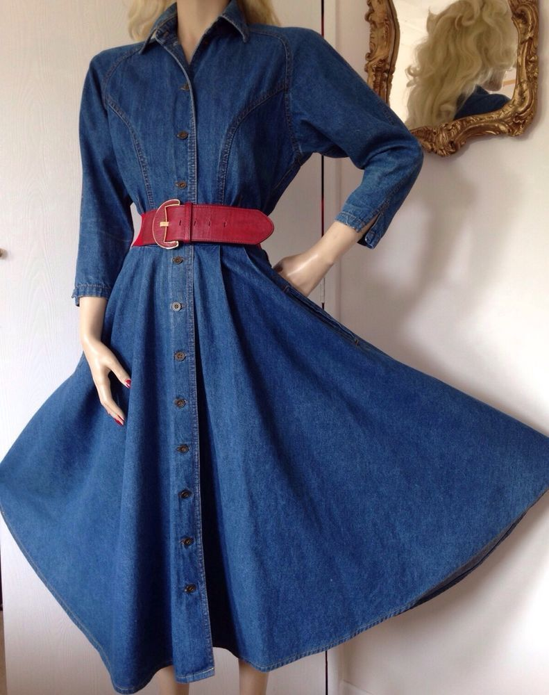 f5f55543481 BETTY BARCLAY VINTAGE DENIM SWING DRESS 1950s STYLE ROCKABILLY SAILOR PIN UP