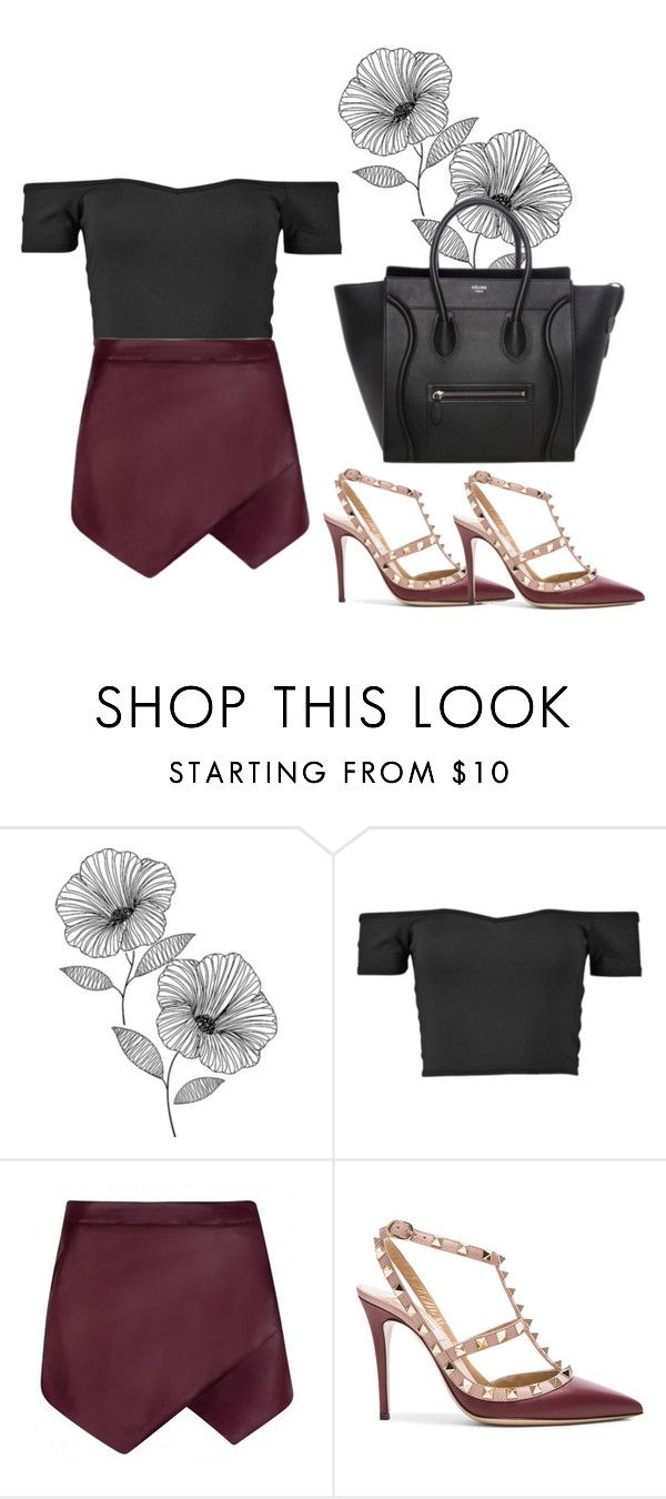 """Dark night out"" by kayla-santella ❤ liked on Polyvore featuring WallPops, Boohoo and Valentino"