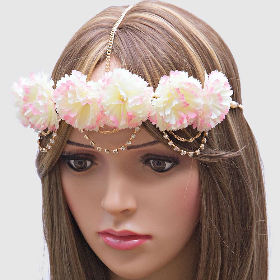 Dahlia Blossoms Draped Head Chain Flower Crown Headband White