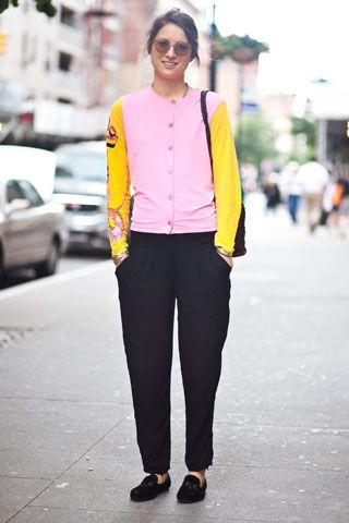 Street Chic: New York    Name: Mikaela Bradbury  Work: Artist  Top: Vintage Christian Lacroix  Pants: Vintage  Shoes: Sweet Ballerina  Bag: Vintage  Sunglasses: RETROSUPERFUTURE