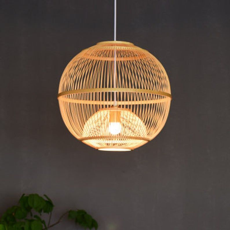 Artistic Southeastern Suspension Luminaire Arturesthome Traditional Japanese Bamboo Pendant Bamboo Hanging Light Fixture for Living Room