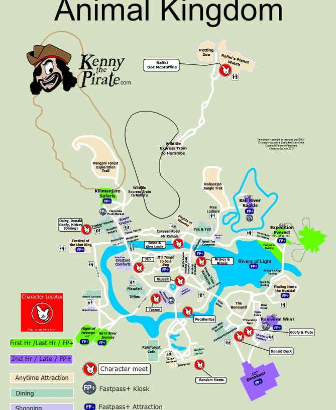 Animal Kingdom Map including Fastpass Plus locations ...