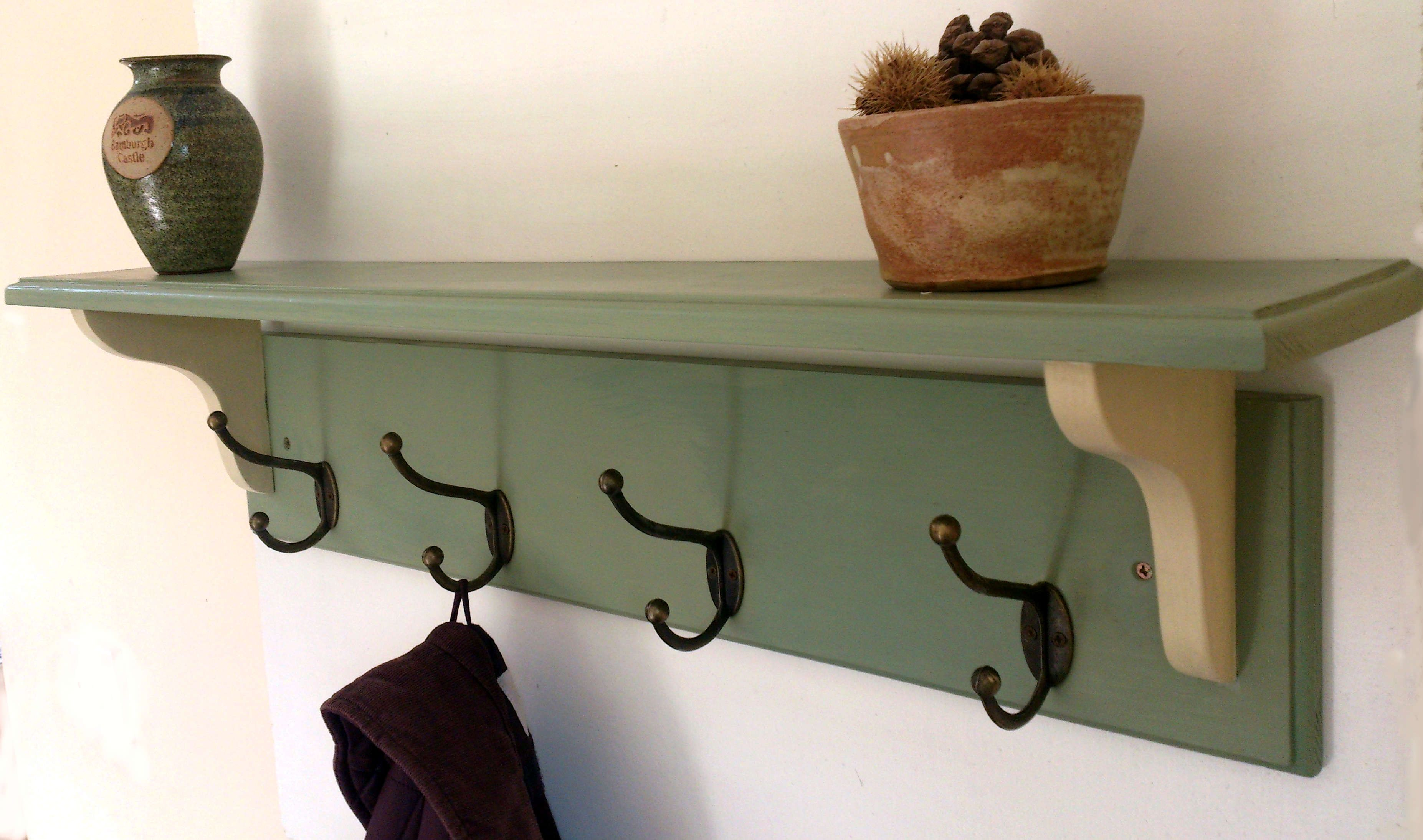 Hallway Wooden Coat Rack With Shelf Solid Wood Vintage Rustic