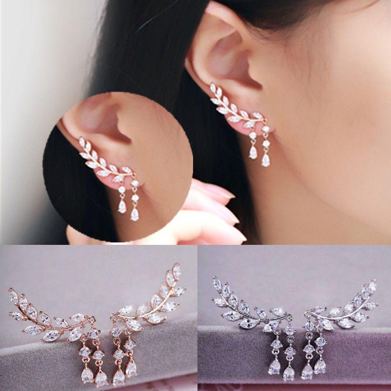 Drop Dangle Leaves Tassels Stud Earrings