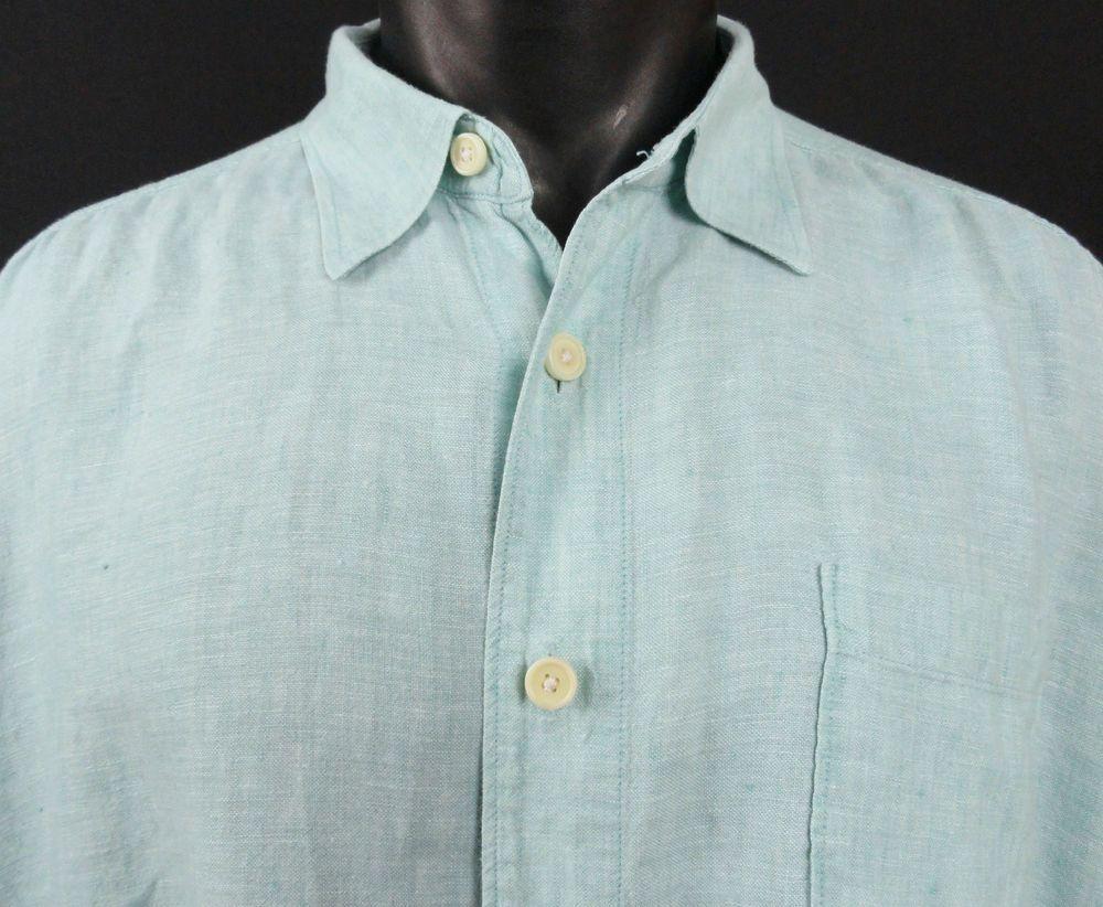 Tommy Bahama Mens XL Mint Green/Aqua 100% Linen Shirt LS Button Front Pocket