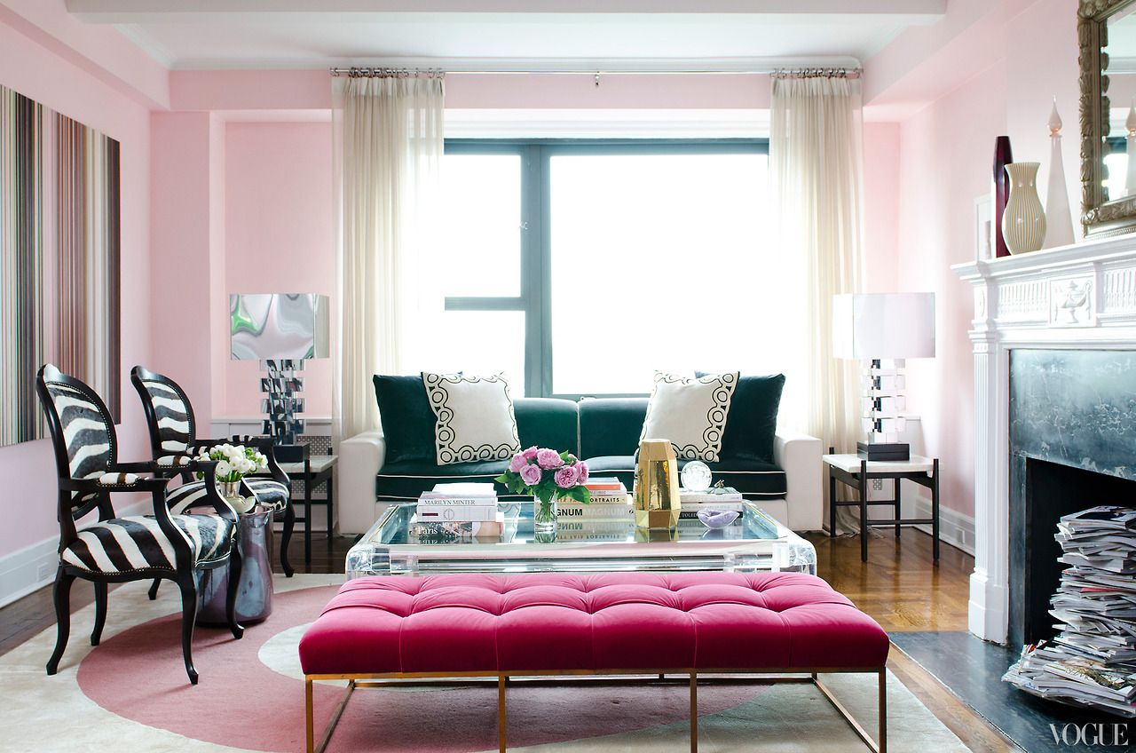 Soft Pink Walls, Zebra Pattern Chair, and a Beautiful Teal Sofa ...