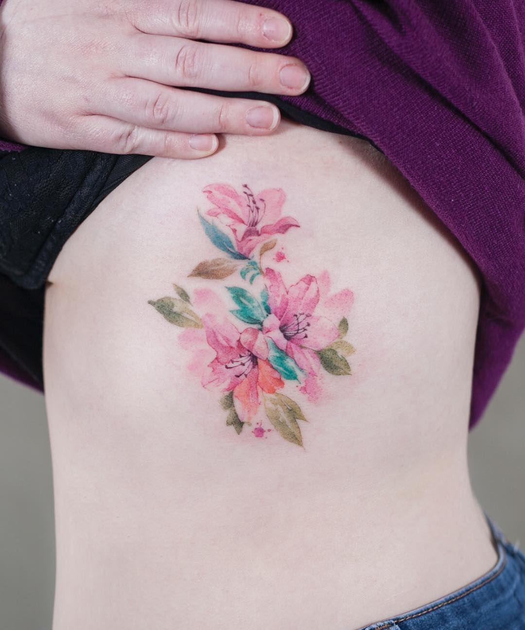 진달래 ) 진달래타투 수채화타투 azalea watercolortattoo 타투
