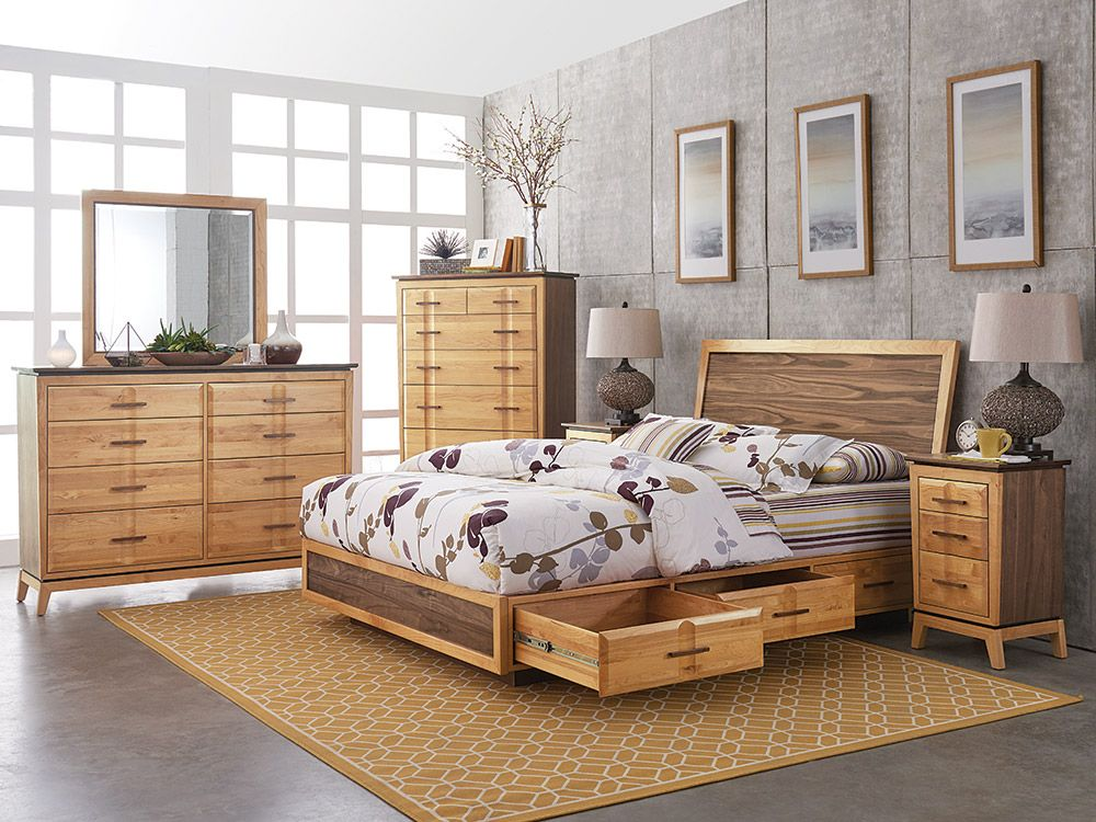 Mid Century Style With A Flair For The Dramatic This Remarkable Bedroom Set Is A Com Bedroom Furniture Stores Solid Wood Bedroom Furniture Real Wood Furniture