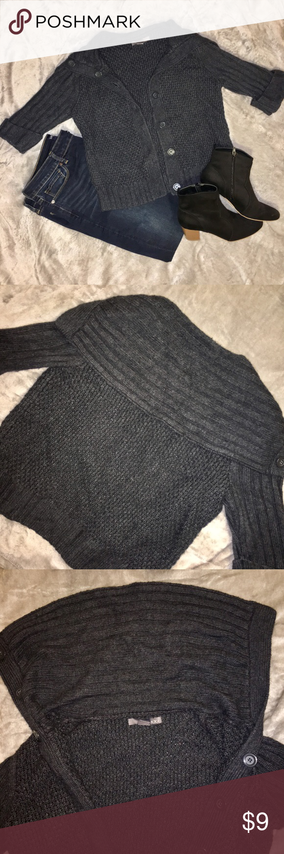3/4 Sleeve Knit Sweater Comfortable and cute dark grey knit sweater with 3/4 sleeves. Forever 21 Jackets & Coats