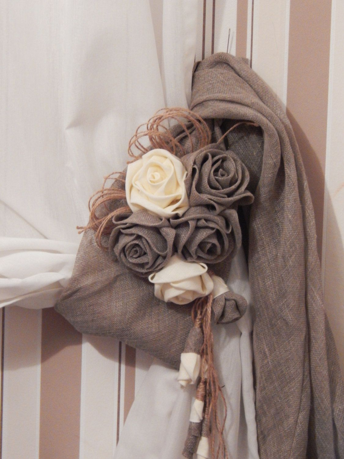 This Elegant Rustic Curtain Tie Back Made From Natural Grey Linen Decorated A Fabric Flowers Size 67 170 Cm Curtain Tie Backs Rustic Curtains Curtain Ties