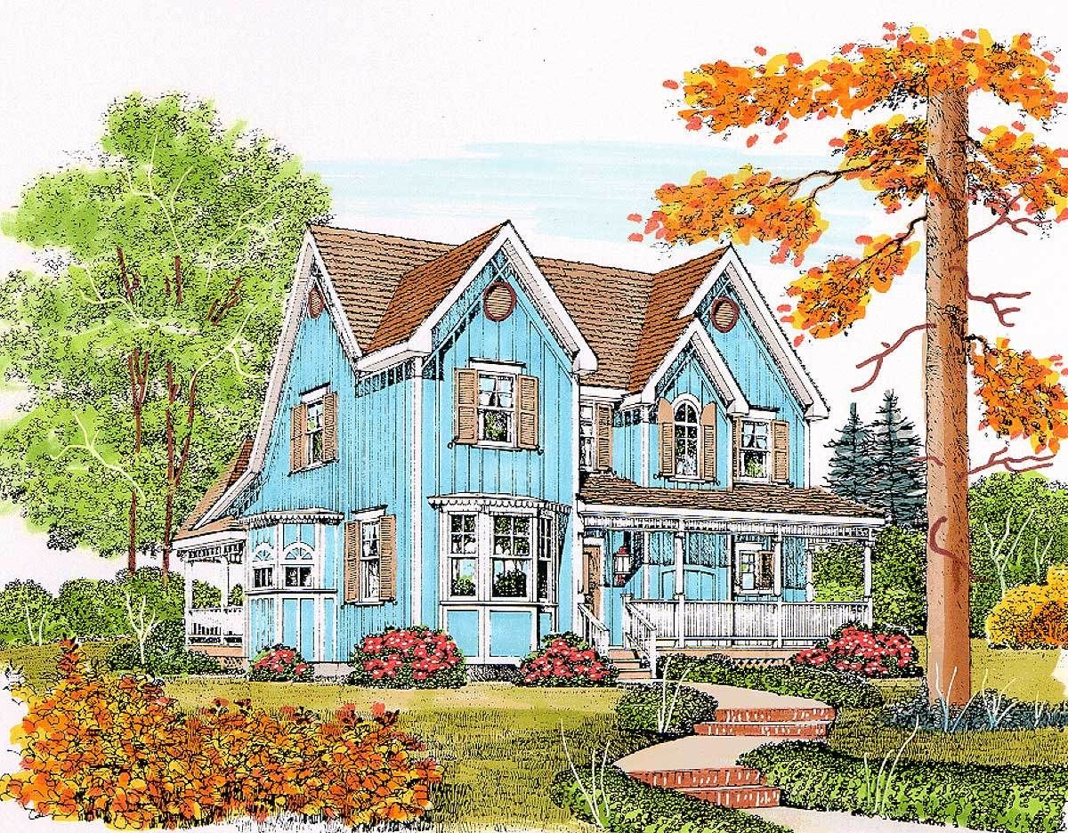 plan 43071pf charming gothic revival farmhouse - Gothic Revival Farmhouse Plans