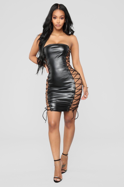 55c33c280b8 Club Vixen Lace Up Dress - Black