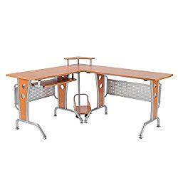 """HOMCOM 61/"""" L-shaped Corner Computer Desk Wood PC Table Workstation Home Office"""