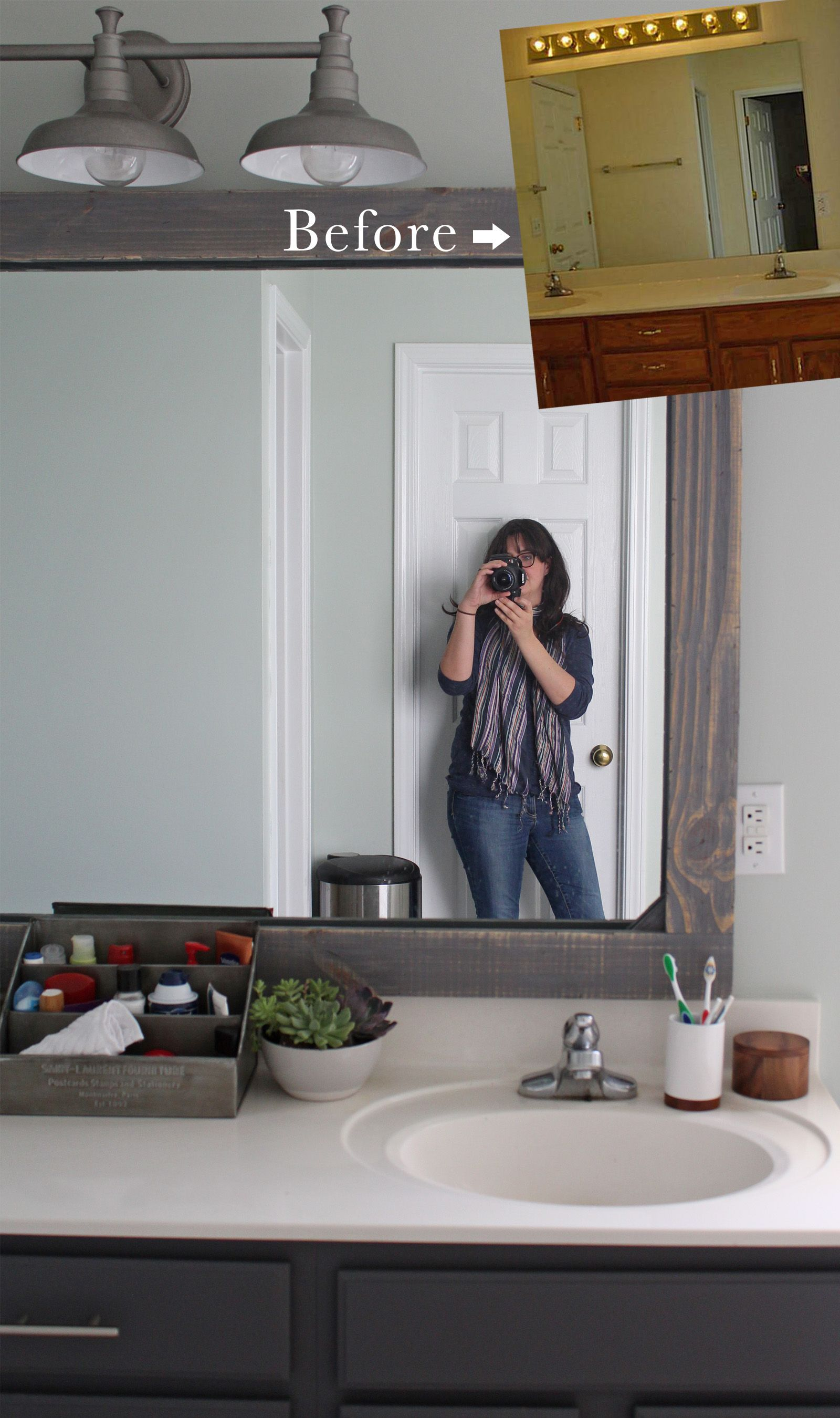 How To Frame A Mirror With Wood Tag Tibby Design Bathroom Mirror Makeover Rustic Mirror Frame Rustic Mirrors