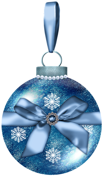 Blue Christmas Ball With Bow PNG Picture