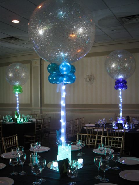 Sparkle Balloons with Aqua Gem Based Centerpieces cumple