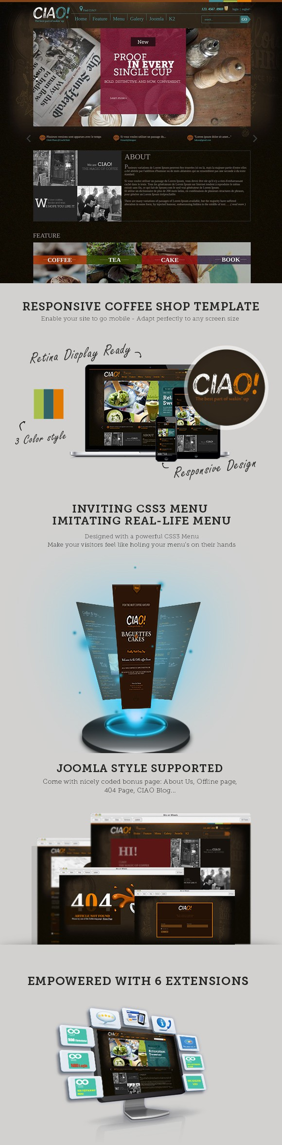Ciao - Coffee Joomla Template. Bootstrap Templates. $30.00 ...