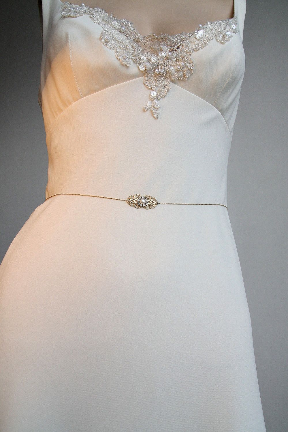 Gold Bridal Belt Sash Rhinestone Crystal Pearls Victorian Vintage Style Jewelry Wedding Dress