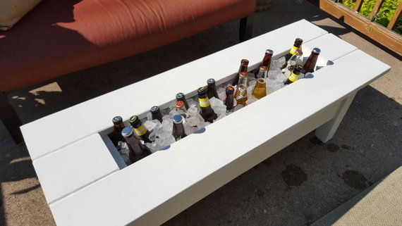 Delightful Outdoor Cooler Coffee Table / Built In Beer / By LibertyAlchemy