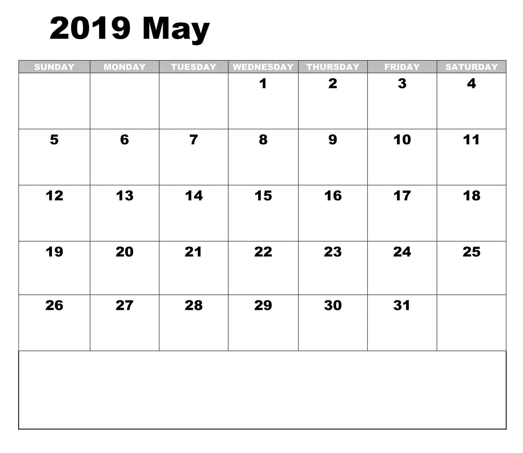 Monthly Printable May 2019 Calendar Online Calendar Calendar