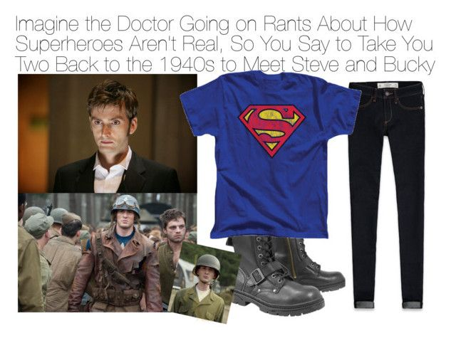 """Imagine the Doctor Going on Rants About How Superheroes Aren't Real, So You Say to Take You Two Back to the 1940s to Meet Steve and Bucky"" by fandomimagineshere ❤ liked on Polyvore featuring Abercrombie & Fitch"