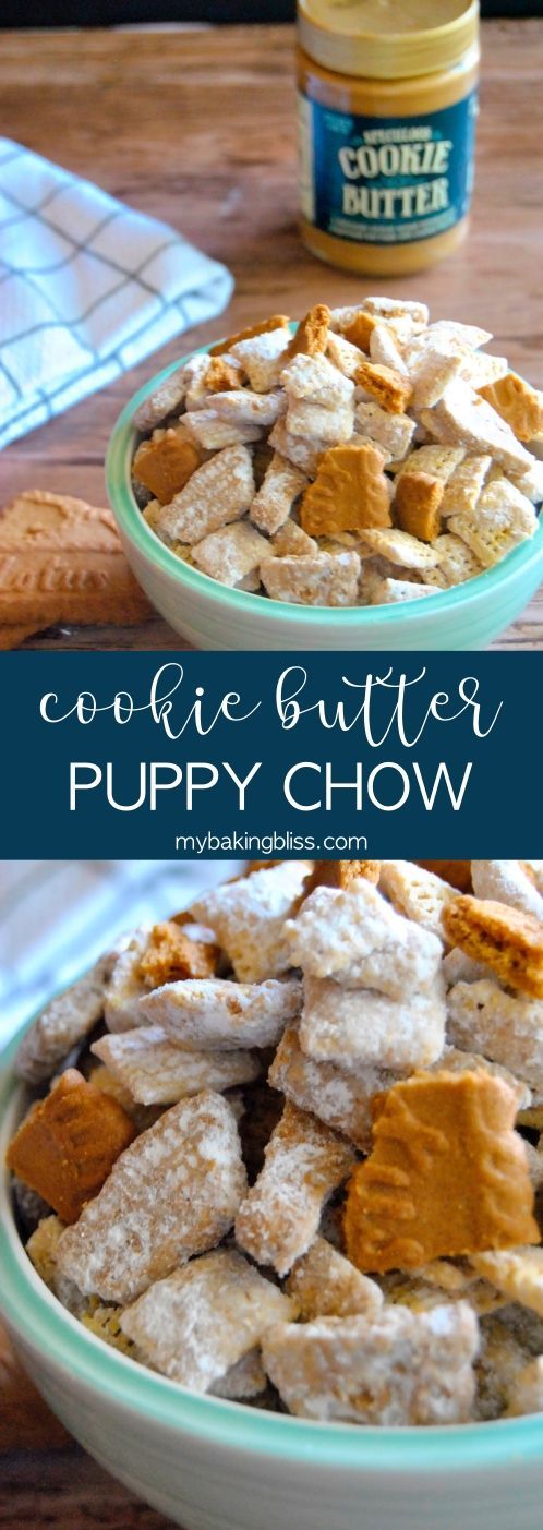 Cookie Butter Puppy Chow - an easy no-bake treat, this puppy chow (or muddy buddies) recipe is sure to be a hit with everyone thanks to the delicious cookie butter flavor, plus it only takes 10 minutes! | mybakingbliss.com #puppychow