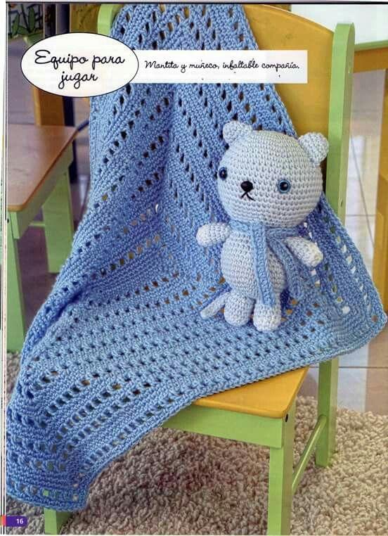 Crochet mantas para bebés 14