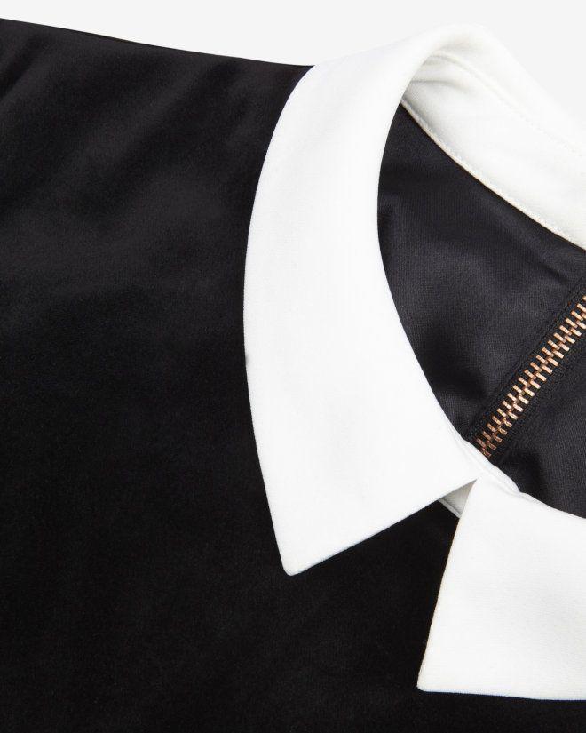 Velvet collar detail dress - Black | Dresses | Ted Baker