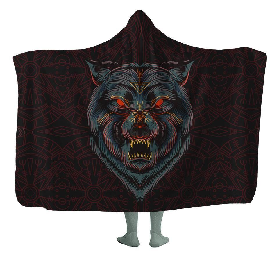 Photo of Lone Wolf Hooded Blanket – Kids – 50×60 / MicroFleece / Red