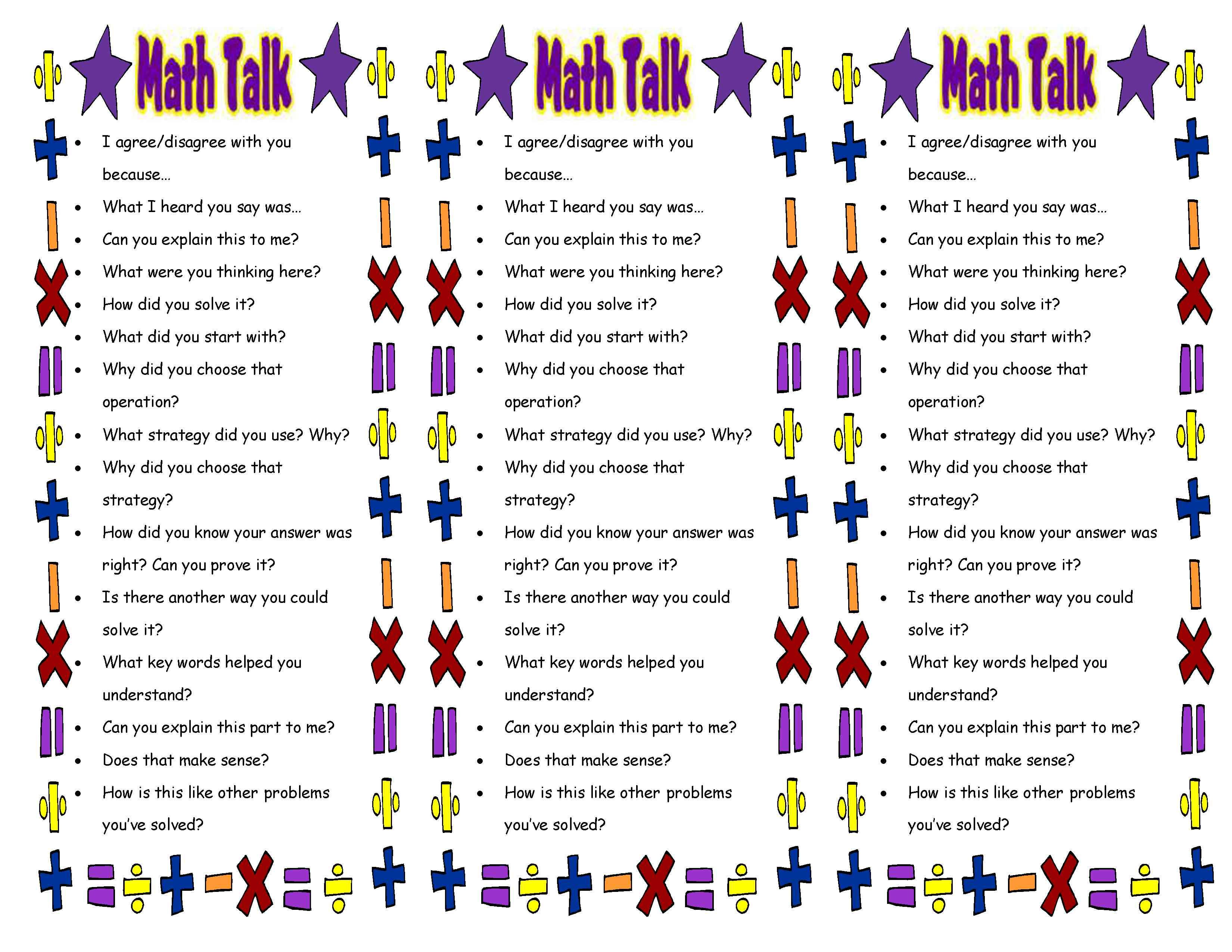 Free printable bookmarks for math from Math Talk 101 | Scholastic.com