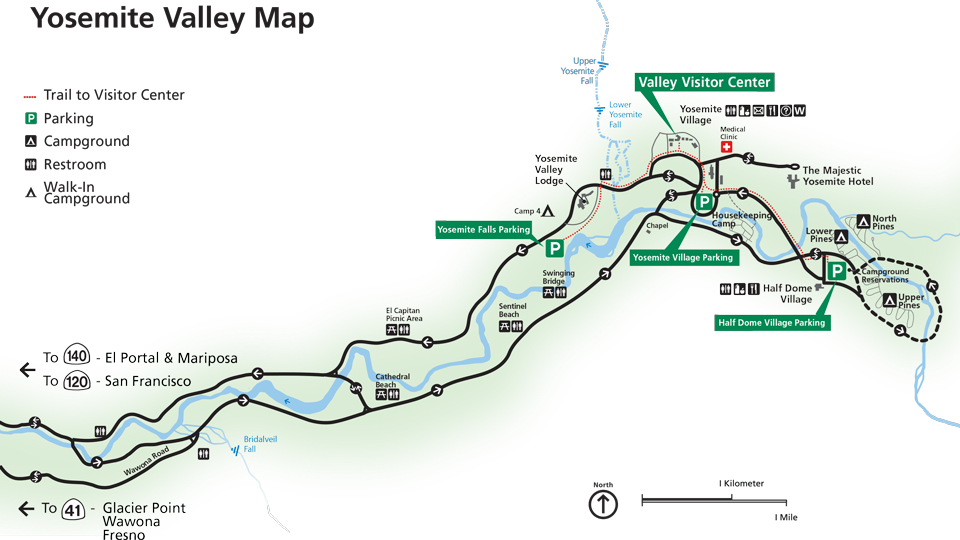 Simplified map showing Yosemite Valley parking areas at ...
