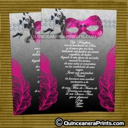 Hot Pink & Black Quinceanera Invitations, Sweet 15 Invites | Mask ...
