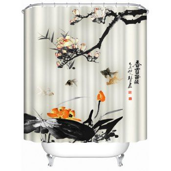 Chinese Ink Painting Waterproof Shower Curtain Painting Bathroom