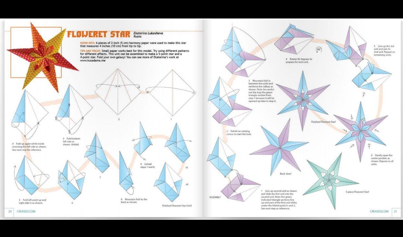 Floweret Star From Creased Origami Magazine Ori Pinterest Christmas Diagrams Stars