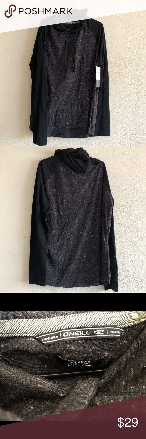 Brand New O Neill Hooded Ringside Pullover Shirt Size Men S Xl 60 Cotton 40 Polyester Black Gray Brand New Measure Pullover Shirt Clothes Design Pullover