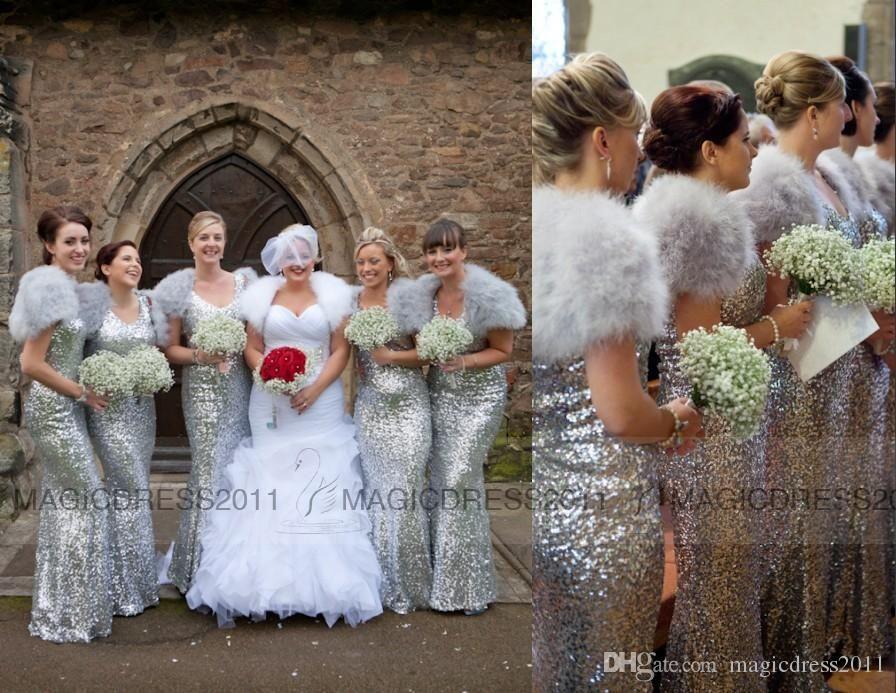 Silver Sequin Bridesmaid Dresses