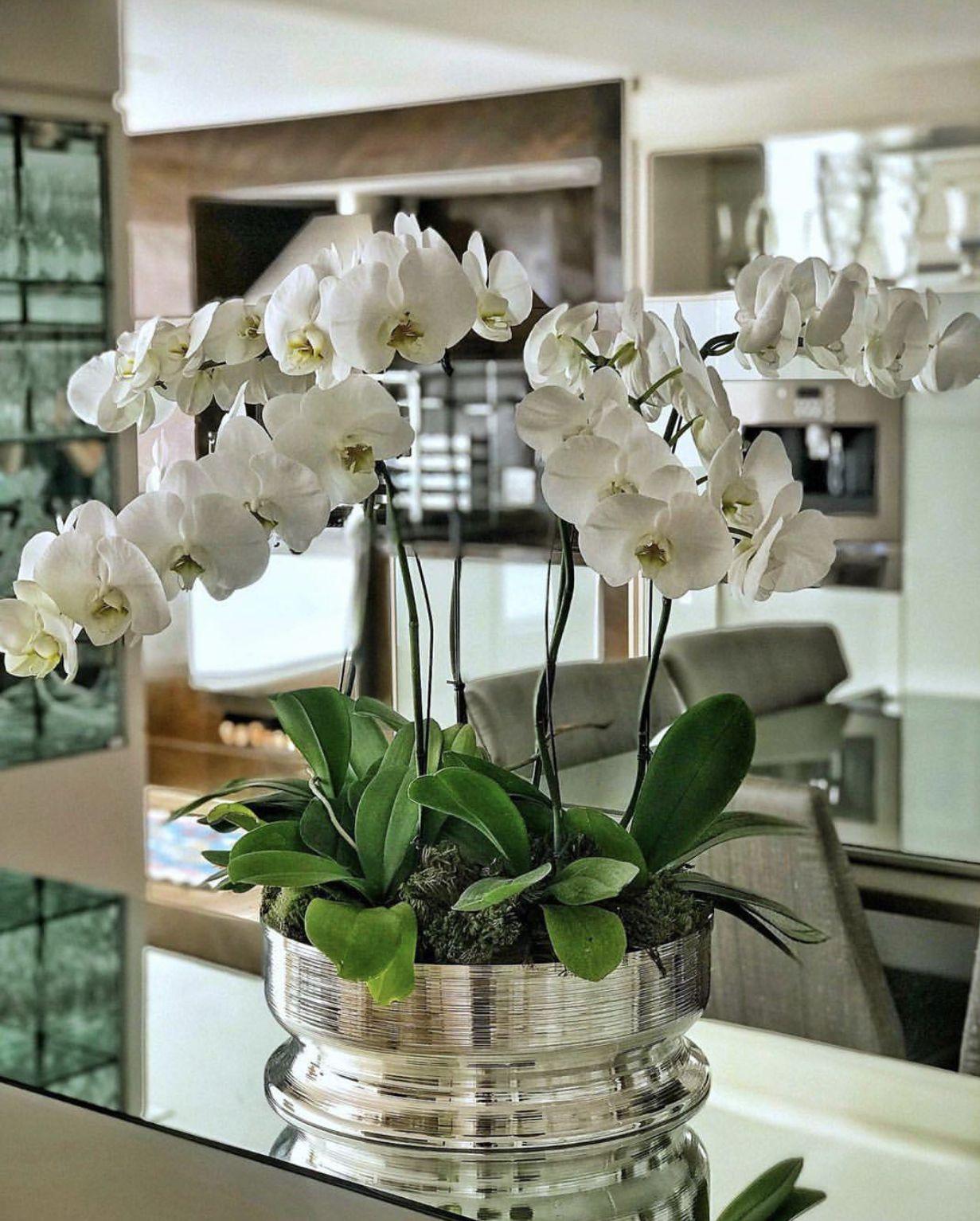 Centro De Mesa Spin Em Prata St James Arranjos Florais Modernos Arranjos Florais Contemporâneos Arranjos De Flores Artificiais