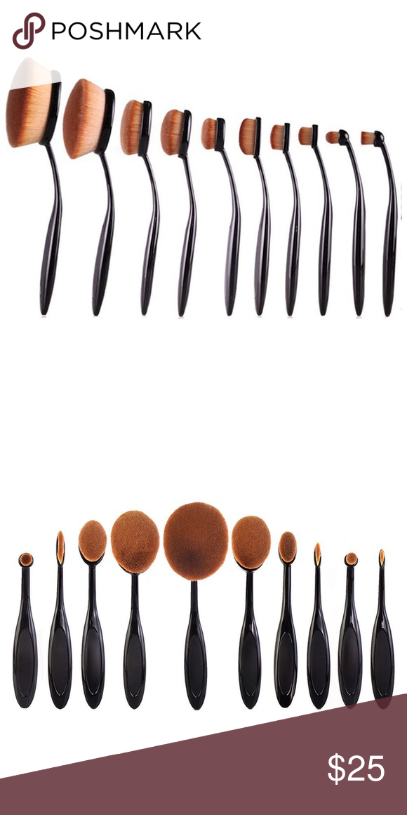 Brand new 10 piece oval makeup brushes set Super soft oval