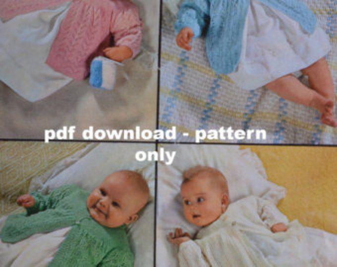 b12f96b61485 Vintage knitting pattern baby matinee jacket pdf four baby matinee ...