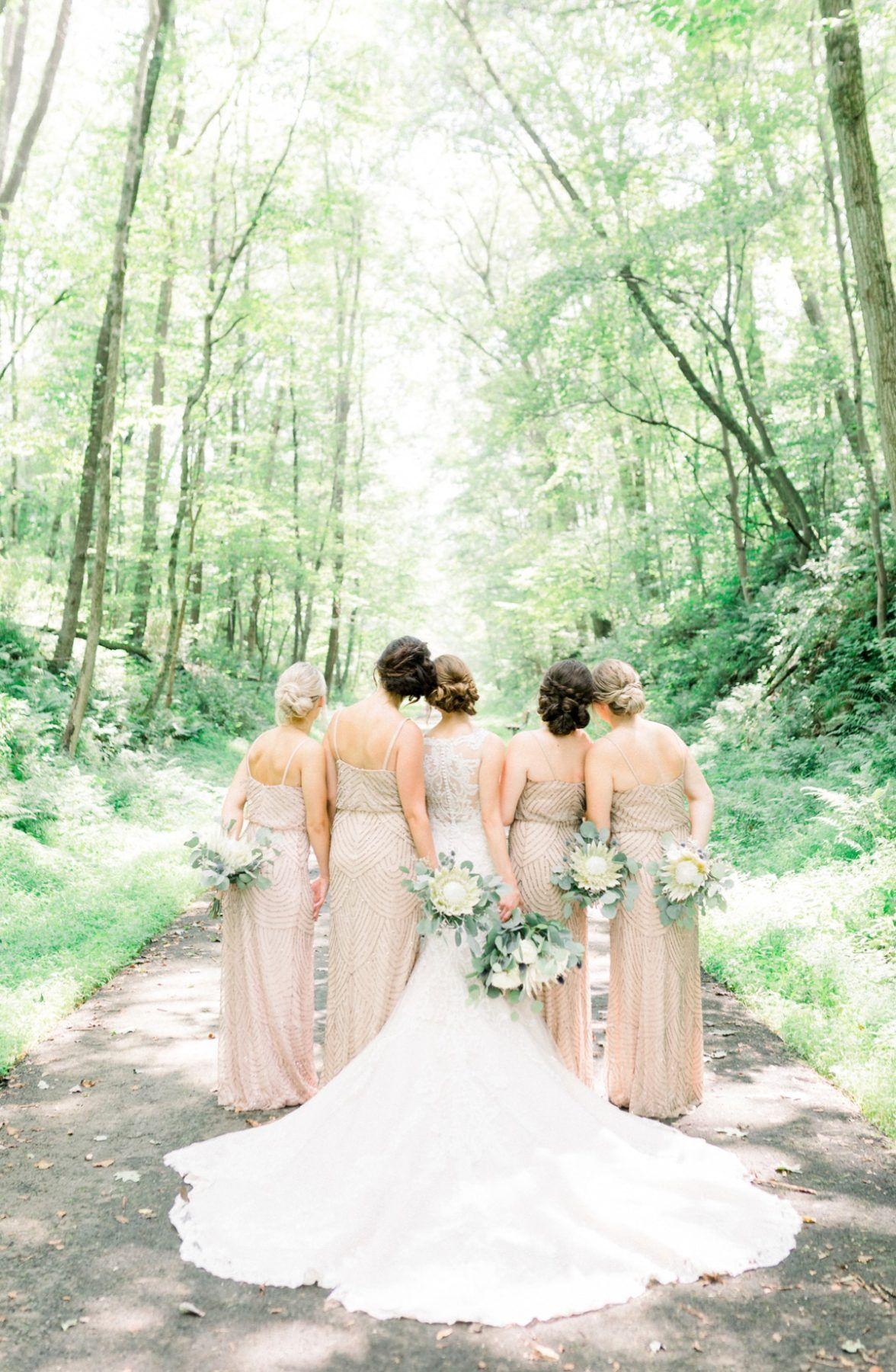 Romantic Forest Wedding At The Event Center At Waterworks Neutral Bridesmaid Dresses Neutral Wedding Colors Cathedral Length Wedding Dress [ 1800 x 1176 Pixel ]