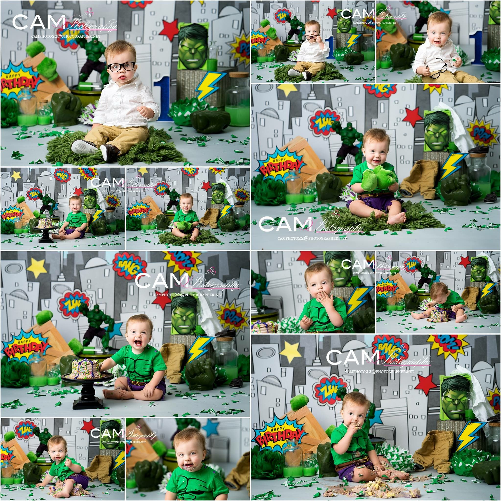 Baby Boy First 1st Birthday Cake Smash Cookie Hulk Inspired Photoshoot Outfit
