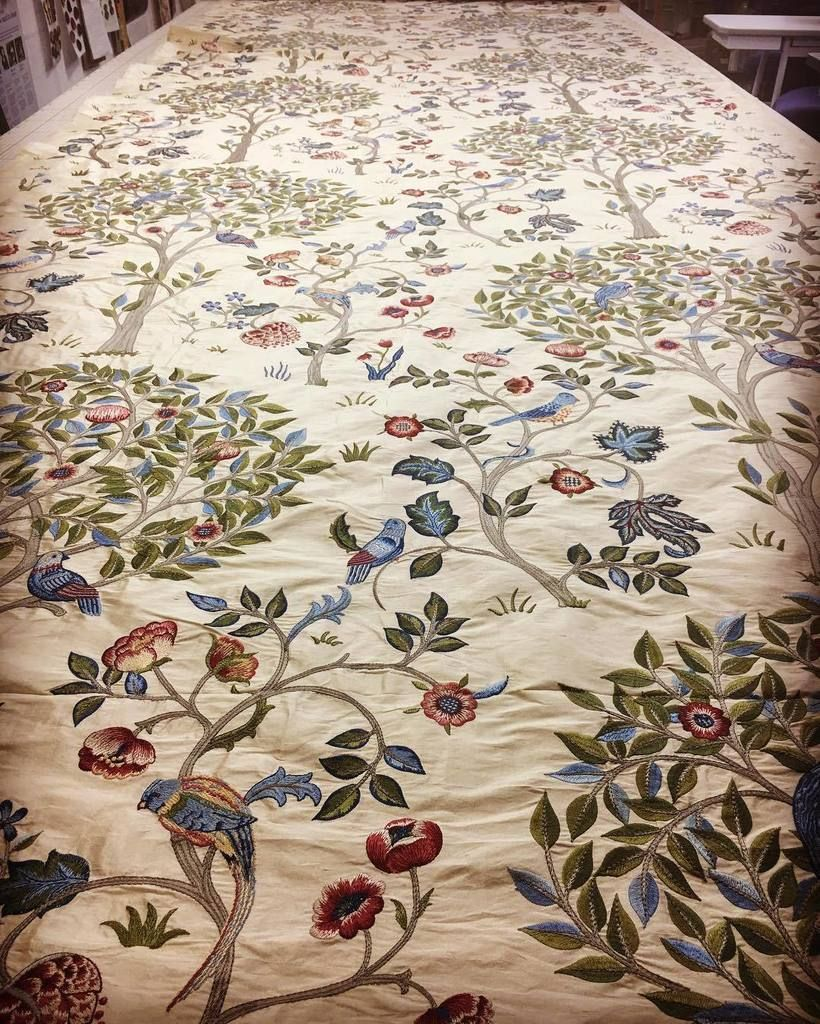 This embroidered silk from William Morris and co is truly stunning ...