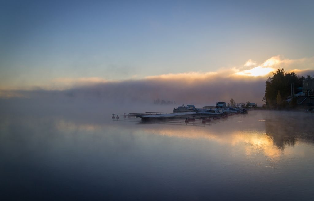 Morning mist at lake Pyhäjärvi