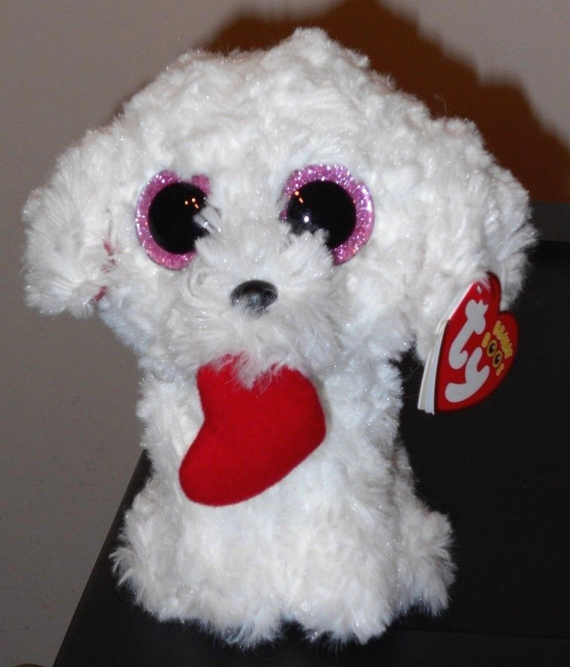 Ty Honey Bun Dog with Heart Plush Regular 37210 White