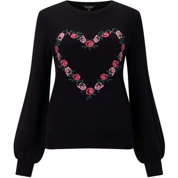 Miss Selfridge Black Floral Embroidered Knitted Jumper (725 MXN) ❤ liked on Polyvore featuring tops, sweaters, black, rayon sweater, miss selfridge tops, jumper top, viscose tops and miss selfridge