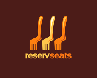 """""""Reserv Seats"""" #logo shows three icons representing both forks and chairs symbolising restaurant chairs"""