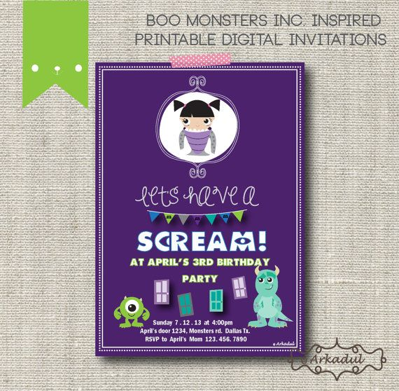 Monsters Inc Boo Inspired Birthday Invitation DIY Digital ...