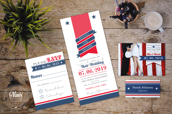 patriotic wedding invitation suite | creative, wedding and wedding, Wedding invitations